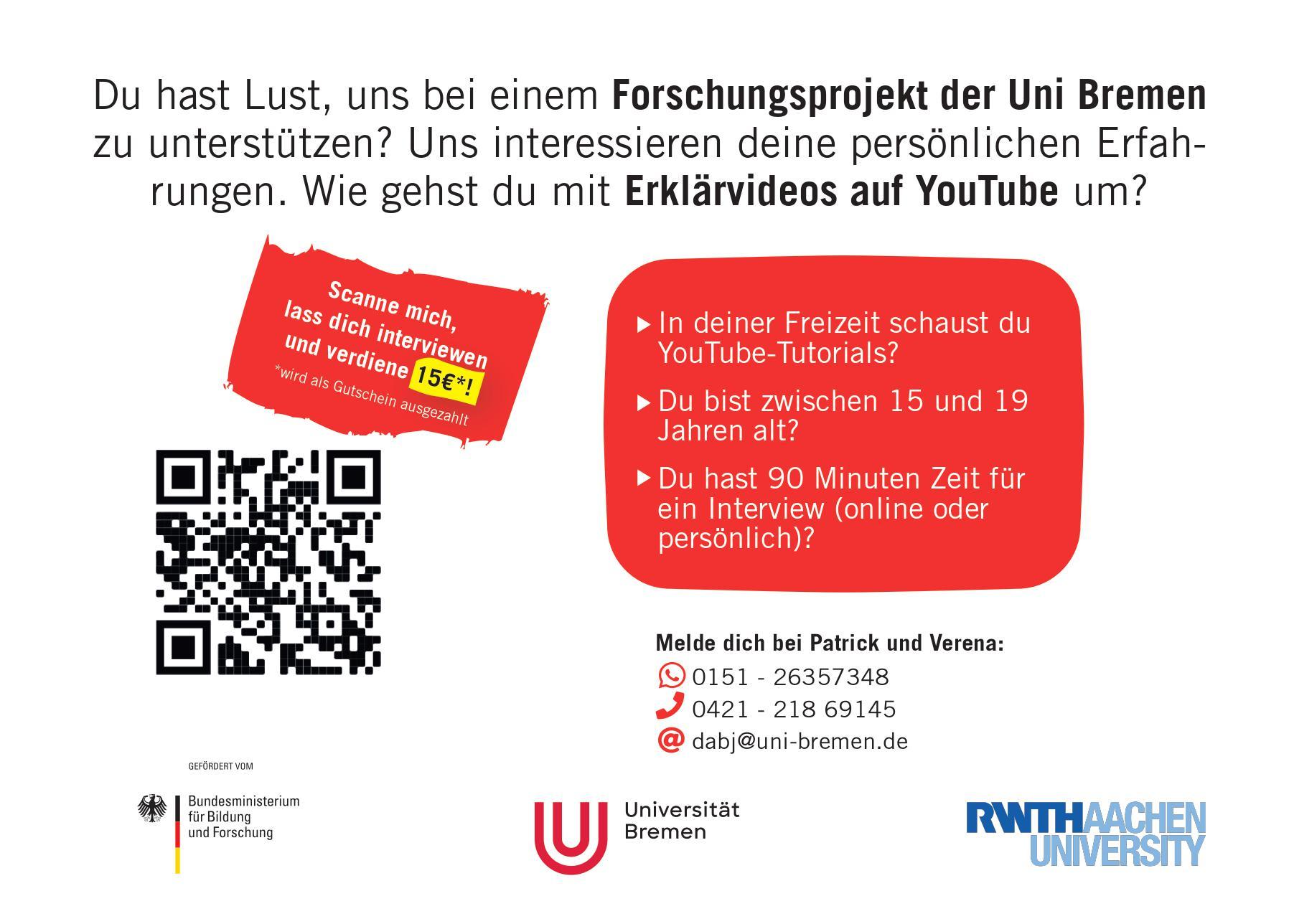 Du schaust YouTube Tutorials? Gib uns ein Interview und verdiene dir 15€!