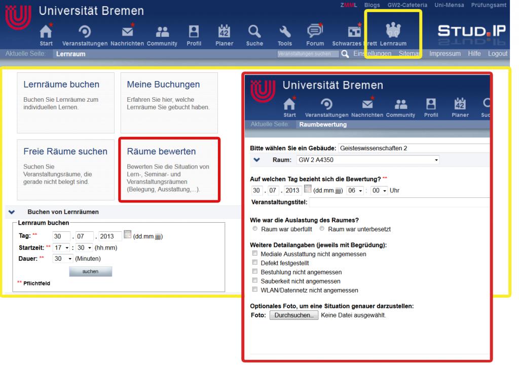 Abbildung 2: Screenshot des Lernraum-Buchungsportals (gelbe Umrandung) und der Raumbewertungsfunktion (rote Umrandung) auf StudIP