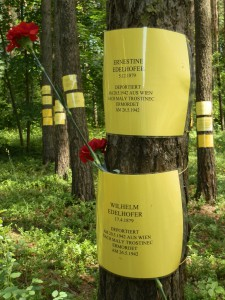 Figure 1: Makeshift memorials for Vienna Jews in the Blagovshchina forest.