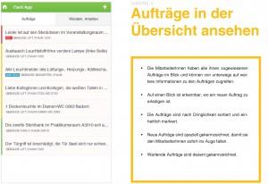 """Abbildung 2: Auszug aus der Broschüre """"Anforderungssammlung für eine Informationstechnologie für die Gebäudebetriebstechnik"""". Auf der linken Seite ist ein Screenshot des entwickelten Prototyps zu sehen, dessen Anforderungen rechts beschrieben sind."""