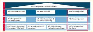 Abbildung 1: Aufbau des Studiengangs Public Health – Gesundheitsversorgung, -ökonomie und -management.