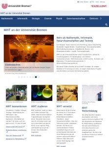 Abbildung 1: Screenshot der Startseite des MINT-Portals. Der Slider gibt eine erste Übersicht über die MINT-Fächer an der Universität Bremen. Zentral platziert sind die Themen MINT kennenlernen, MINT studieren und MINT vernetzt und Weiterbildung. Noch nicht implementiert ist ein MINT-Kalender.