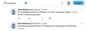 Tweetverlauf von Karla Kolumna aus dem Gerichtssaal (Sommersemester 2017).