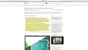 """Abbildung 3: Beispiel für einen multimedialen Reflexionsimpuls aus der Veranstaltung """"EW-L GO3d Unterrichtsmethoden/Multimedia"""""""