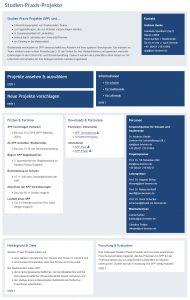 Abbildung 2: Internetpräsenz von Studien-Praxis-Projekte – Einstiegsseite für Schulen, Dozierende und Studierende