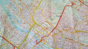 Stadtplan Bremen Weg von der Uni zur Neustatd Kneipe Karton