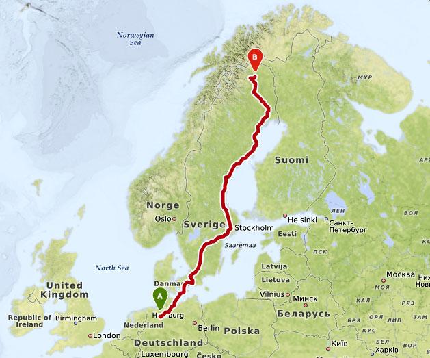 Wer einmal eine Reise tut - unsere Route von Bremen nach Kiruna. (Erstellt mit maps.openrouteservice.org)