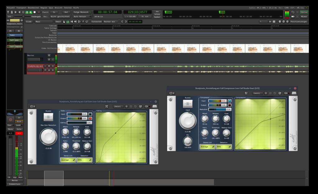 Screenshot des Musikstudios Ardour