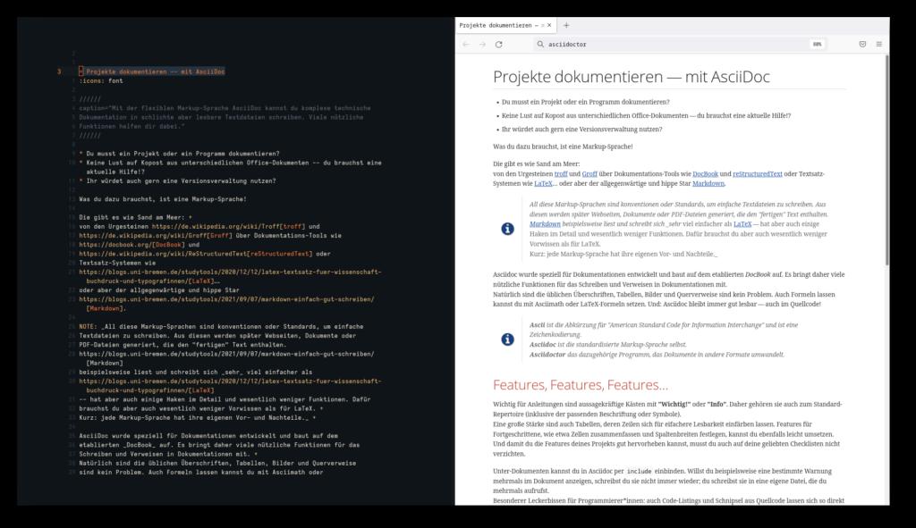 Screenshot des Asciidoc-Artikels im Texteditor (links) und als HTML-Seite (rechts)