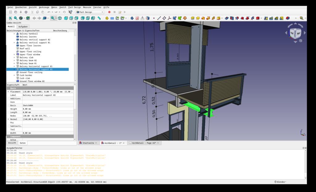 Screenshot der freien CAD-Software FreeCAD; 3D-Ansicht eines Gebäudeteils