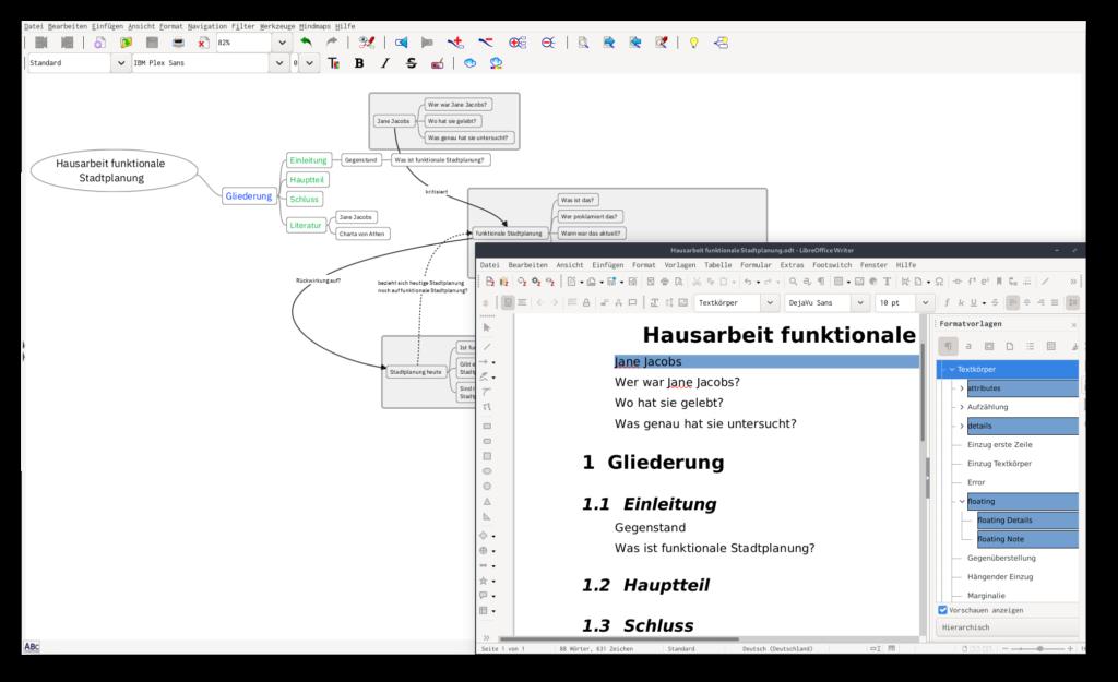 Screenshot von Freeplane und einer Mind-Map als LibreOffice-Dokument