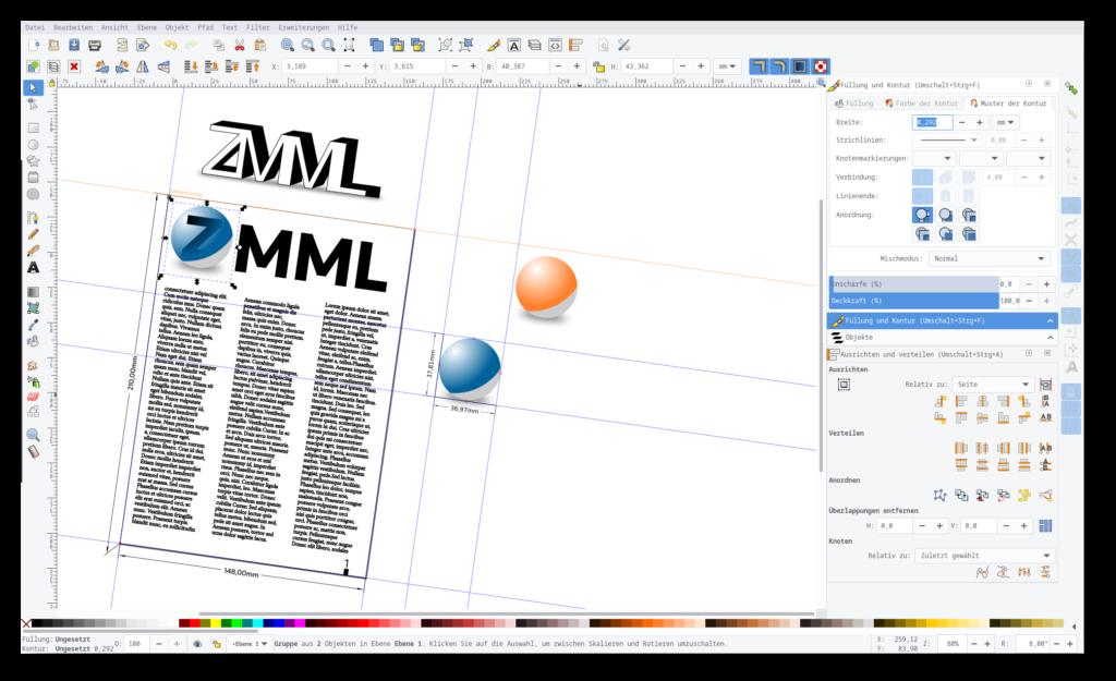 Screenshot von Inkscape mit einem Seitenlayout und mehreren Logo-Varianten für eine fiktive Zeitschriften-Titelseite