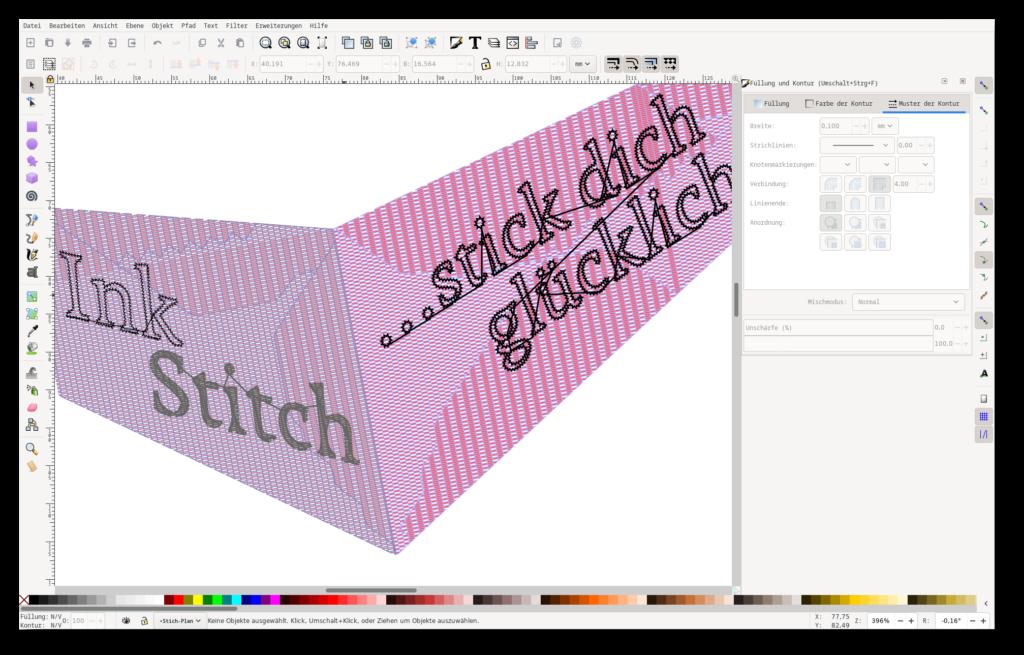 Screenshot von Inkscape und einem Stickmuster, das mit der Erweiterung Ink/Stitch erstellt wurde