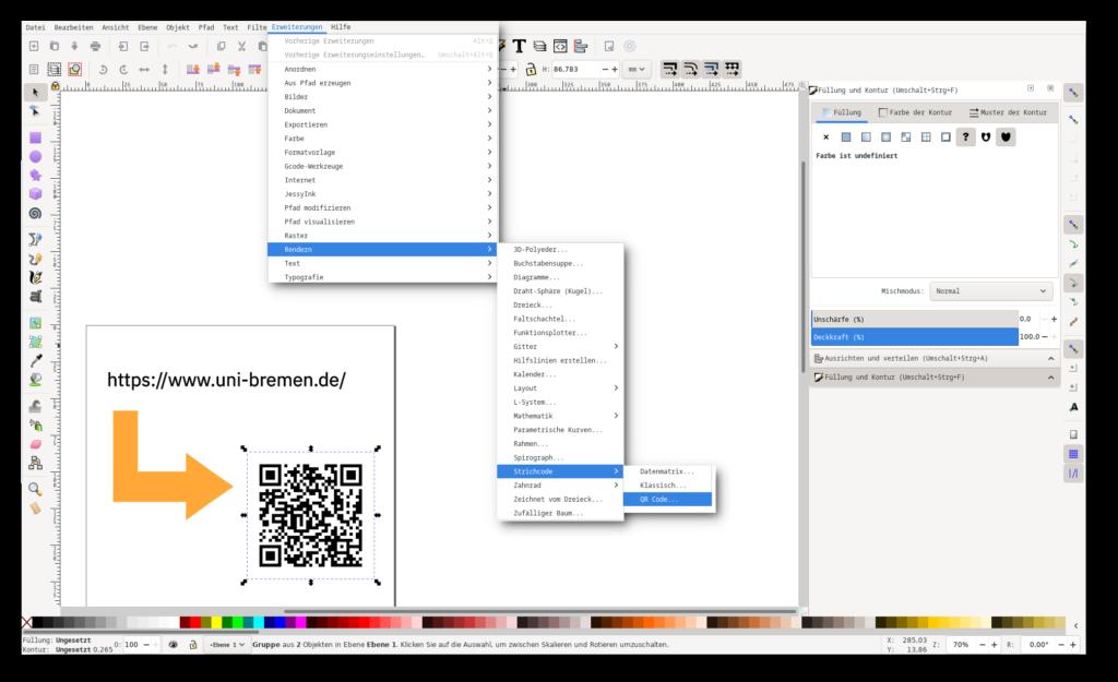 Screenshot von Inkscape mit den Menü-Einträgen um einen QR-Code zu generieren