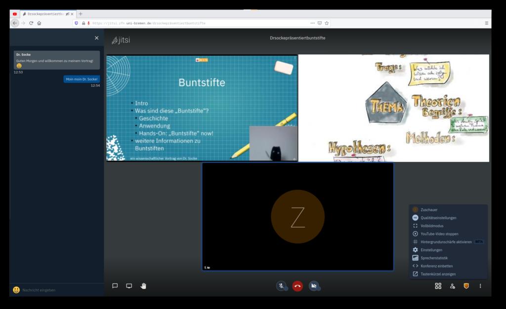 Screenshot einer Videokonferenz in Jitsi