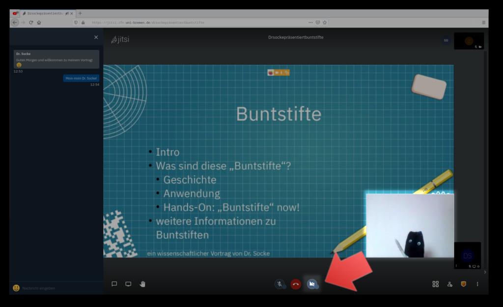 """Screenshot einer Präsentation in Jitsi mit aktiviertem """"Presenter-Mode"""""""