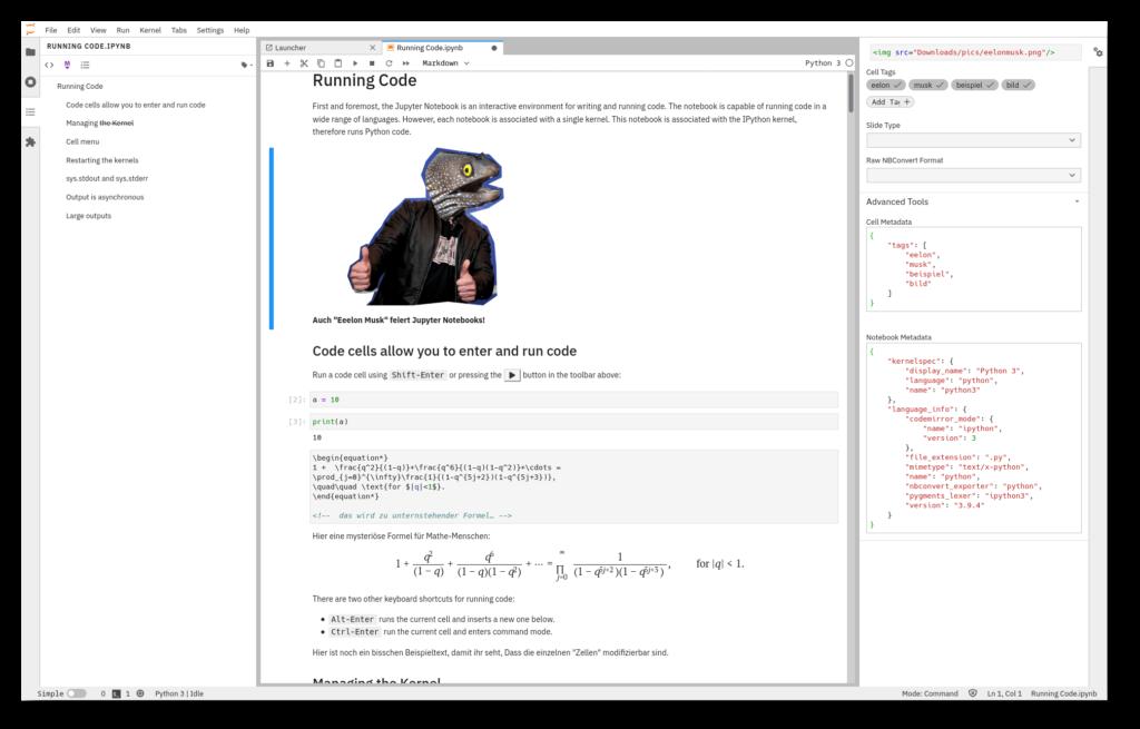 Screenshot der Entwicklungsumgebung JupyterLab; der Weiterentwicklung von Jupyter Notebook