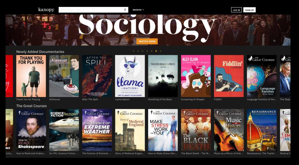 Screenshot der Webseite von Kanopy