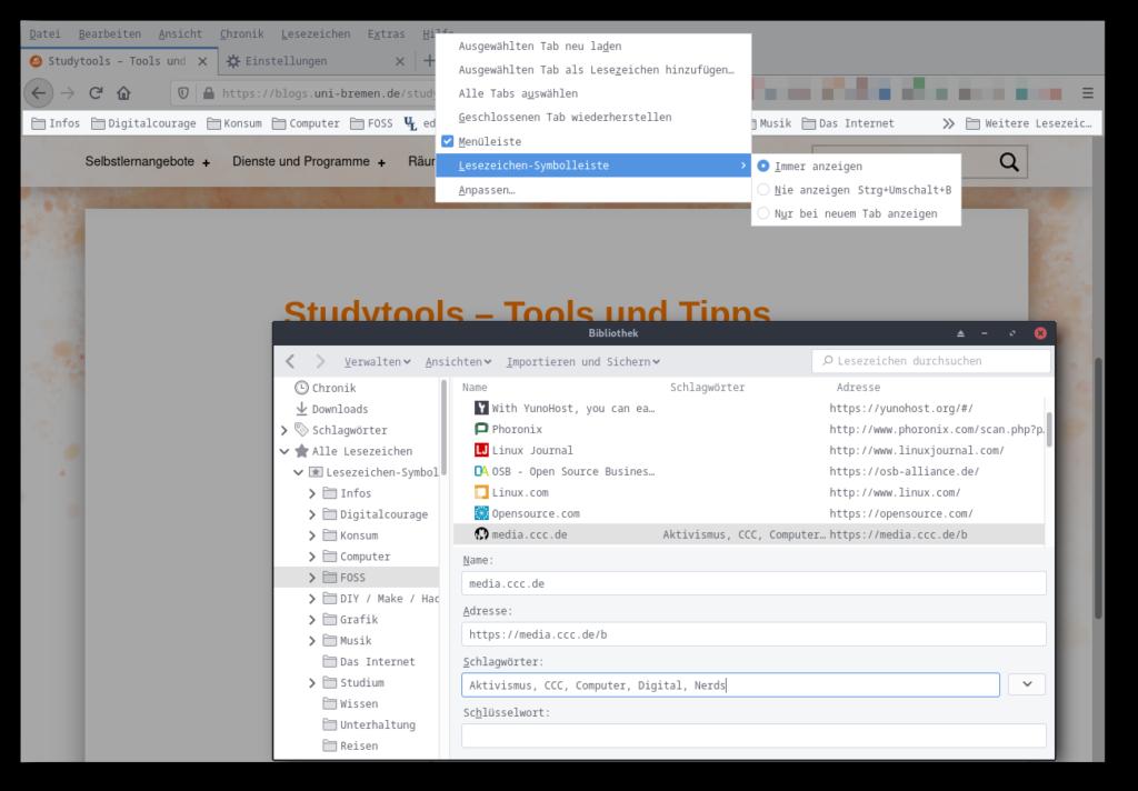 Screenshot der Lesezeichen-Funktionen im Browser Firefox