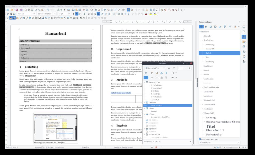Screenshot von LibreOffice Writer: ein Dokument mit einigen Querverweisen, Tabellen und Grafiken um Formatvorlagen zu illustrieren