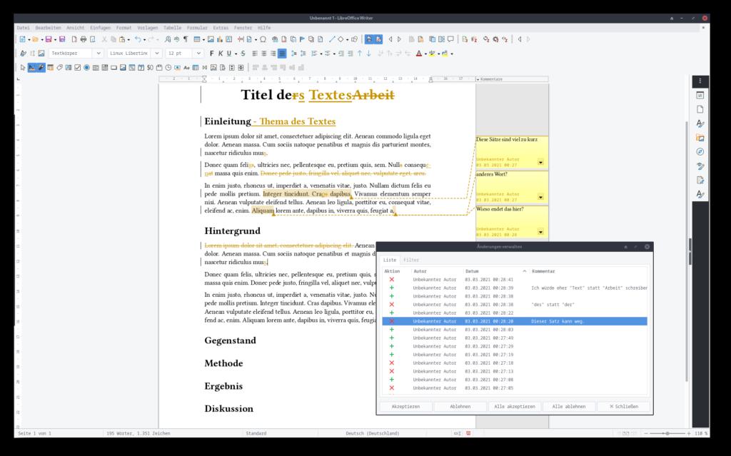 Screenshot von LibreOffice Writer