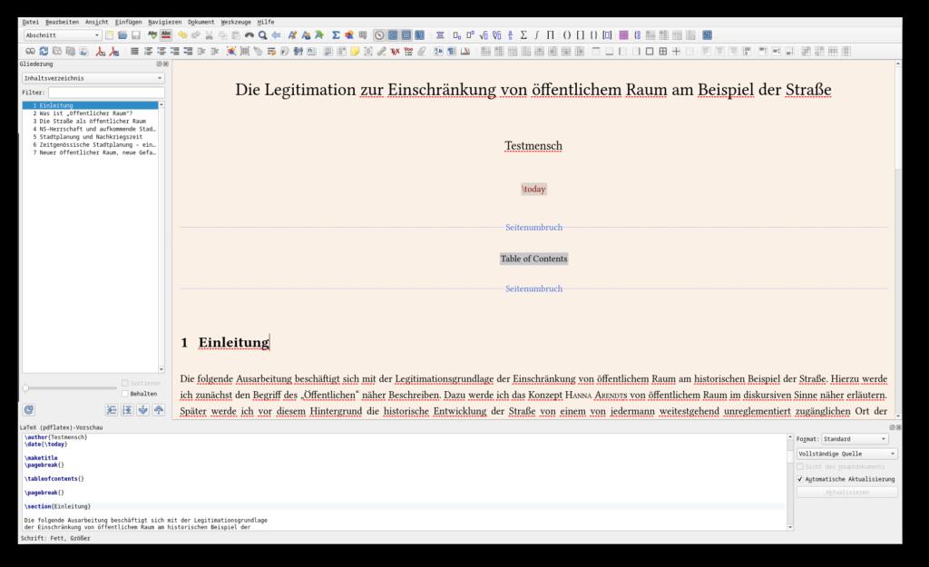 Screenshot vom LaTeX-Editor Lyx mit einer Hausarbeit; links das Inhaltsverzeichnis, unten die reine LaTeX-Vorschau