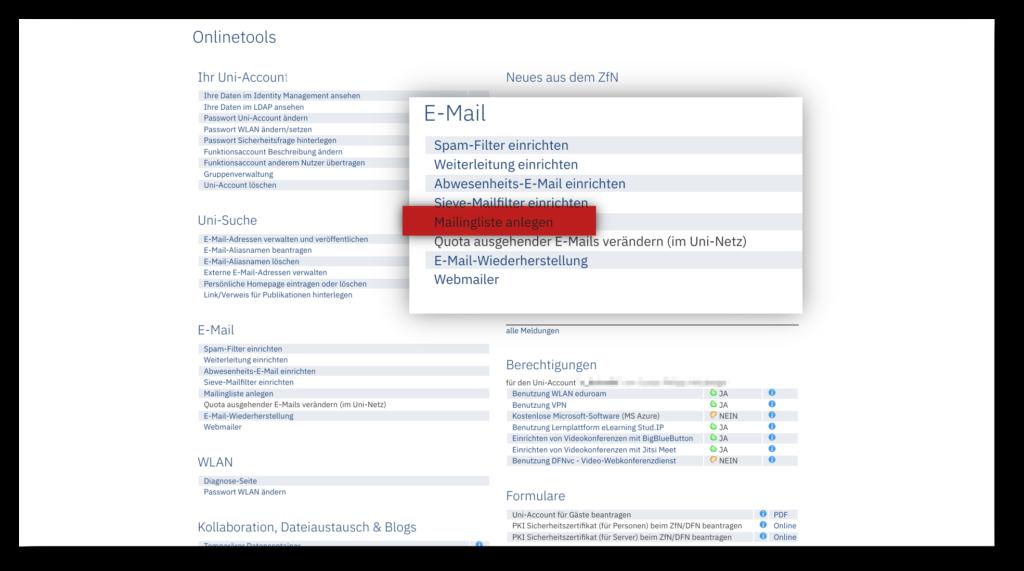 """Screenshot der """"Onlinteools""""-Webseite des ZfN mit der hervorgehobenen Option """"Mailingliste"""""""