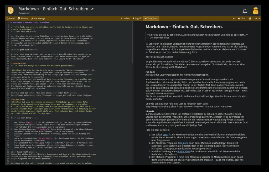 """Markdown-Ansicht des Artikels zu Markdown im Online Editor """"Cryptpad"""" mit aktivierter Vorschau"""