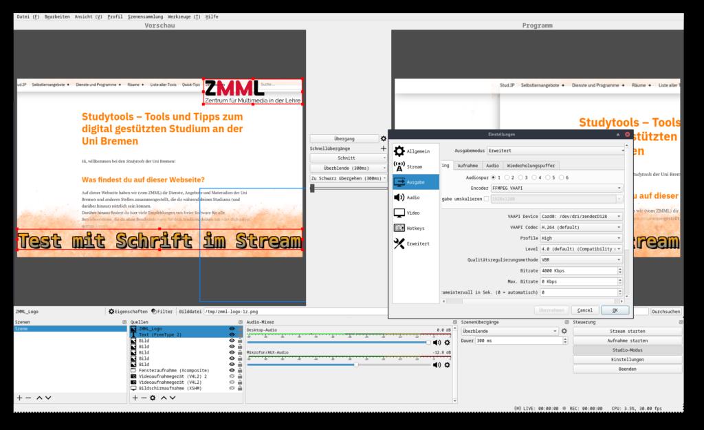 Screenshot von OBS-Studio in der Studio-Ansicht und Einstellungen für die Aufnahme. Im Hintergrund ist das Blog Studytools zu sehen.
