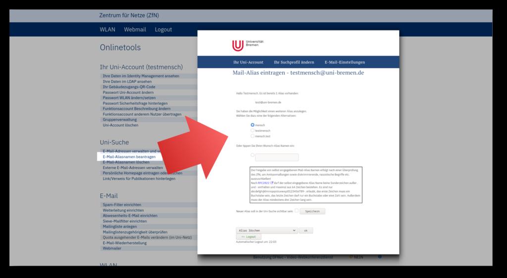 Screenshot der ZfN-Onlinetools und den Einstellungen für einen E-Mail-Alias