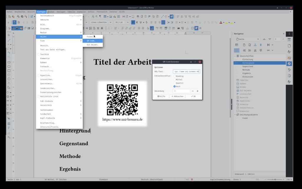 Screenshot von LibreOffice Writer und den Menüs zum Einfügen eines QR-Codes