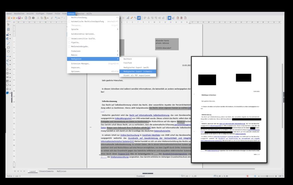 """Screenshot von LibreOffice Draw und dem """"Redigieren""""-Feature, zum Schwärzen von Dokumenten, zu finden unter `Extras`,`Redigieren`"""
