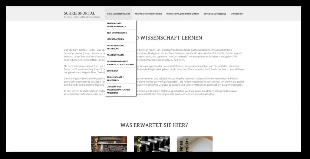 Screenshot der Webseite vom Schreibportal für den FB 09 / 10