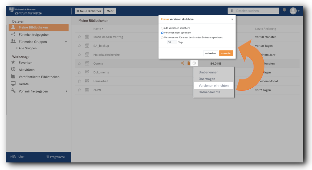 Screenshot des Web-Clients von Seafile mit dem Menü zur Einrichtung von Versionen