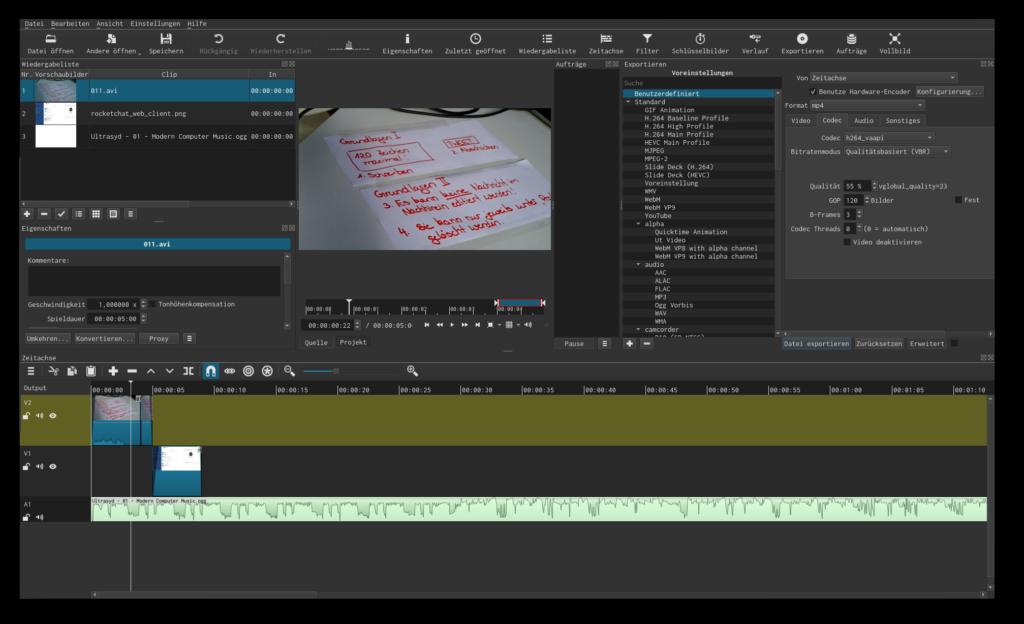 Screenshot von Shotcut