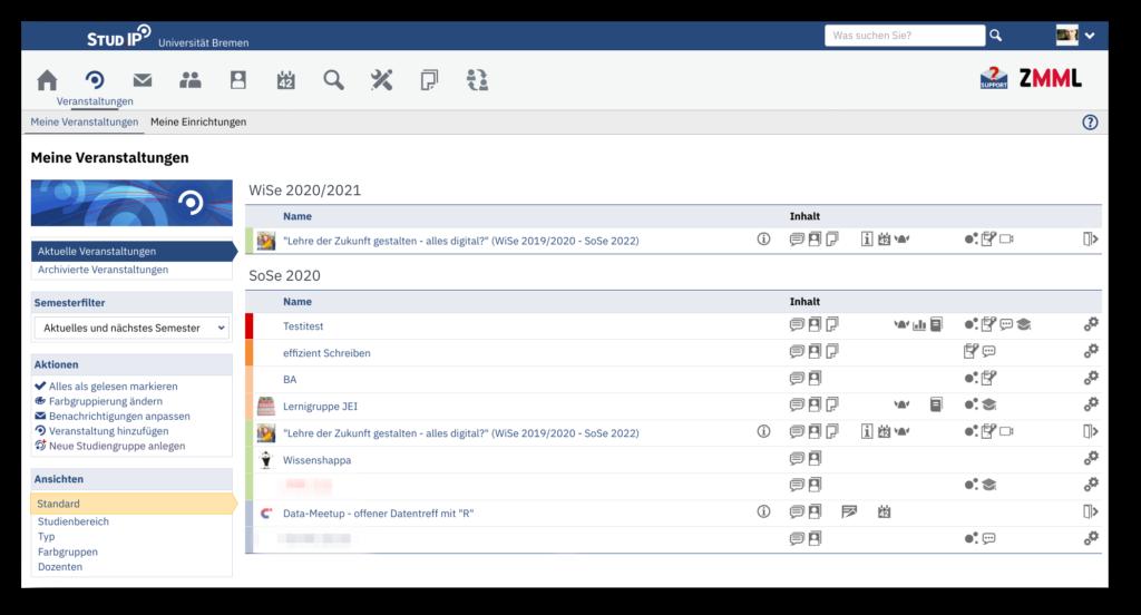 Screenshot aus einem Stud.IP Account mit vielen Studiengruppen