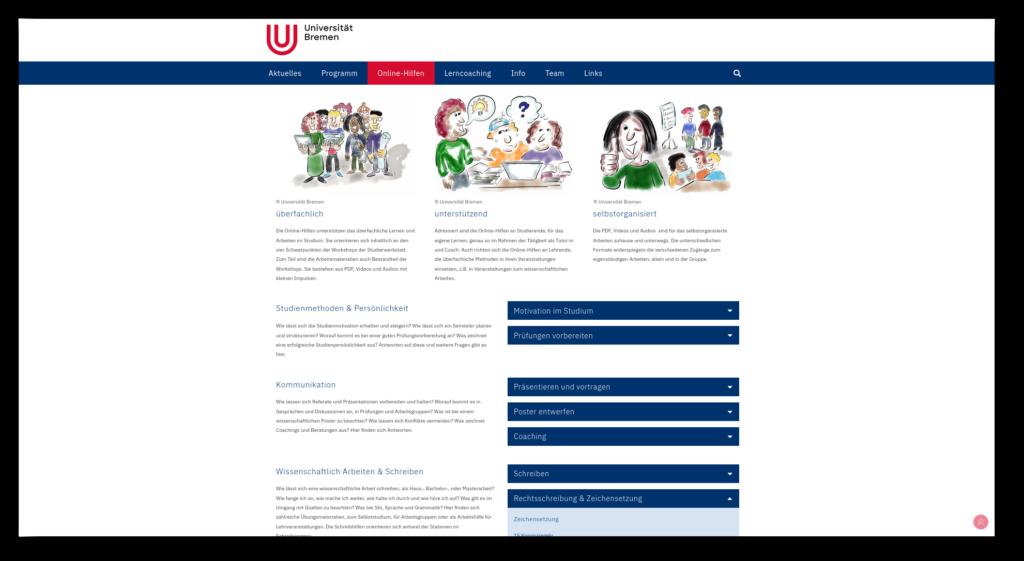 Bild der Online-Hilfen der Studierwerkstatt der Universität Bremen.