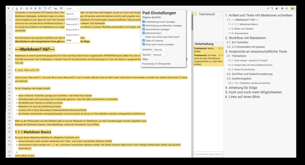 """Screenshot von einem """"StudIPad"""" (Etherpad) in Stud.IP mit aktiviertem Chat und Inhaltsverzeichnis"""