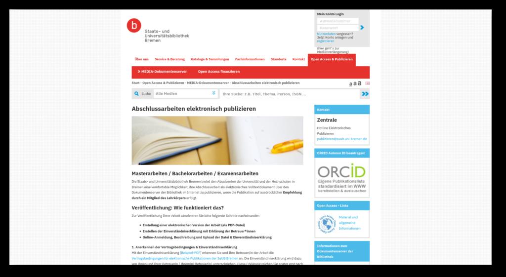 Screenshot der Info-Seite der Staats- und Universitätsbibliothek Bremen zum elektronischen Publizieren von Abschlussarbeiten