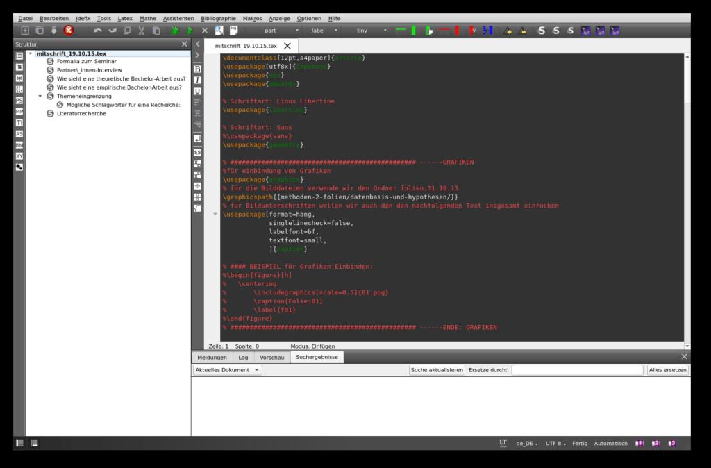 Screenshot des Editors TeXstudio