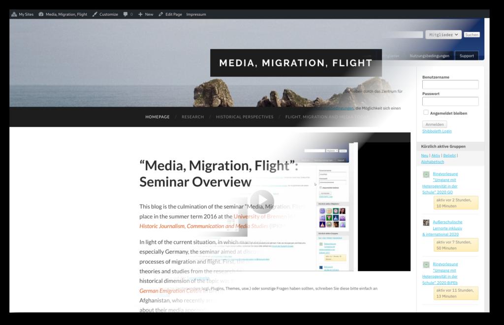 Screenshot eines Blogs und der Startseite der Blog-Farm der Uni Bremen