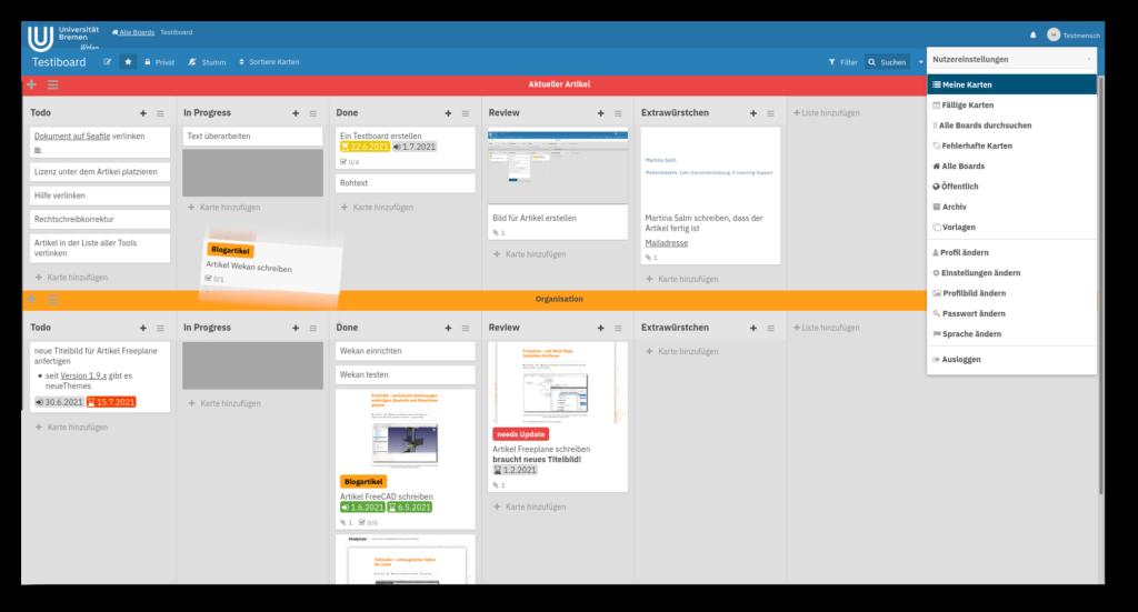 Screenshot der Oberfläche der Kanban-Software Wekan