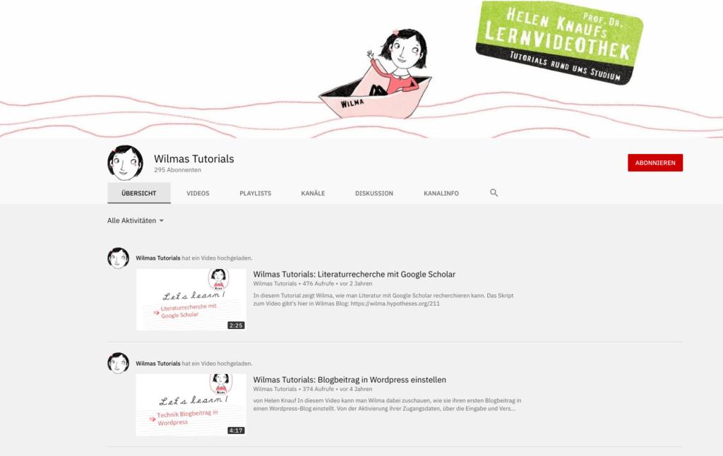 Screenshot der Webseite von Wilmas Tutorials