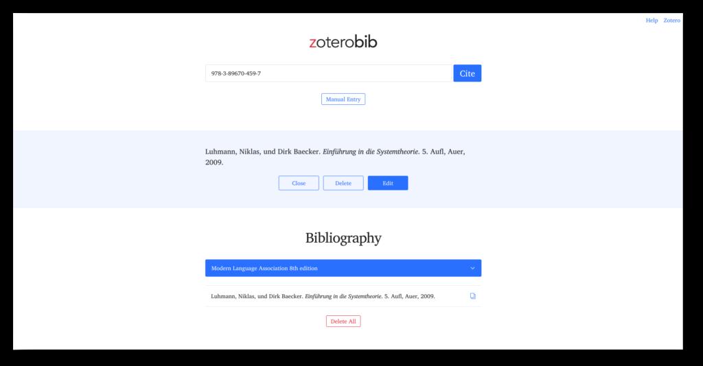 ZoterobiScreenshot der Webseite von zoterobib