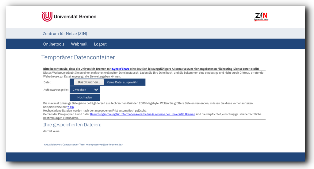 Screenshot des Temporären Dateicontainers bei den ZfN-Onlinetools